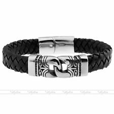 Men's Steel Celtic Knot Leather Braided Magnetic Clasp Bracelet Bangle Wristband