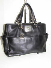 DKNY AUTH Vintage Black Pebbled Leather Slouchy Tote Handbag