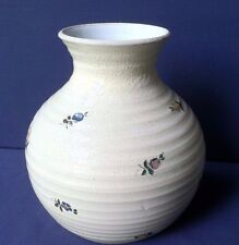 Unique Red Clay Pottery Jar Vase Signed Creamy White Glaze Small Flowers
