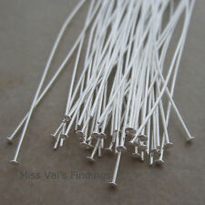 50 silver plated brass jewelry headpins 4 inch 21 gauge