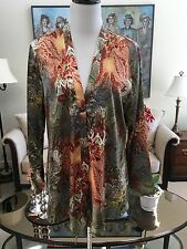 NWOT Chico's V-Neck One Button Flowing Open Front Jacket Sze 2 (12-14) Polyester