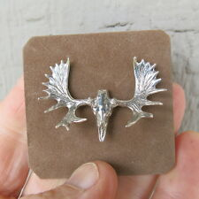 MOOSE RACK SKULL PIN SILVER ANTLER TRETHEWEY MINIATURE BROOCH TAXIDERMY BUCK