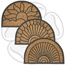 JVL Half Moon Natural Coir Coconut PVC Entrance Door Mat 40 x 60cm Outdoor