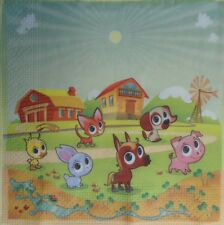 4 X SINGLE PAPER NAPKINS,DECOUPAGE,CRAFT, TABLE, PARTY - ANIMALS -41