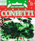 HOLLY & RED BERRIES CHRISTMAS MIX TABLE CONFETTI - CHRISTMAS PARTY DECORATION