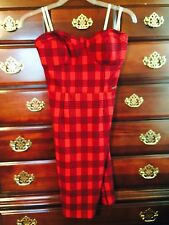 GUESS Red Black Striped Strapless Mini Dress Size M