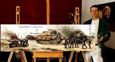 Absolute Rarität - Panorama Gemälde Panzer Kursk Waffen SS Wehrmacht Panther V