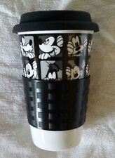 NEW Disney Mickey Mouse Goofy Black/White Ceramic Travel Coffee Mug w/Sleeve