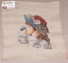 """Profile """"Young Woman w/ Floral Hat"""" Preworked Penelope Needlepoint Canvas"""