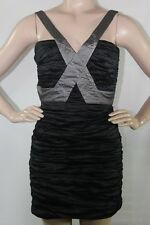 $358 Bcbg Max Azria New Simsom Black Ruched Sleeveless PROM Clubwear Dress SZ 12