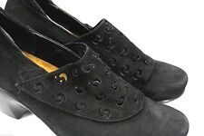 Noat Black Suede Cut-Out Comfort Leather Heeled Velcro Clog Shoes EU 40/US 9