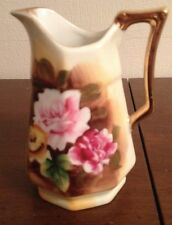 """Vintage Small Yellow w/ Roses Creamer Pitcher E3314 Enesco Japan 4 3/4"""" Tall"""