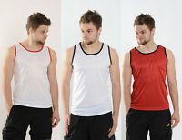 MENS SLEEVELESS VEST TOP BREATHABLE WICK TRAINING FITNESS GYM RUNNING CASUAL TEE