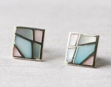 Women's Jewelry 925 Sterling Silver Square Stud Earrings With Mother of Pearl
