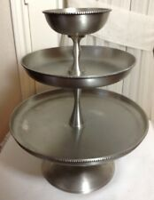 Beautiful POTTERY BARN Round 3 -Tiered Round Steel Serving Tray Stand