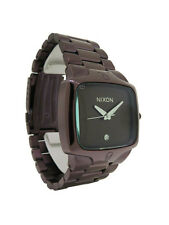 Nixon A140 471 The Player: Men's Brown Rectangular Clear Stone Analog Watch