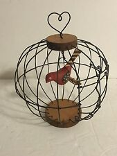 NEAT A Allan Kohr Folk Art carved bird in wire cage Heart topper swinging perch
