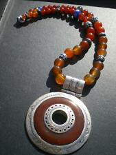 1 GIANT TUAREG PRINCESS Antique Carnelian Stone Beads & Pure Silver Necklace