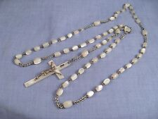 VINTAGE OLD ANTIQUE MOTHER OF PEARL ROSARY PRAYER BEADS CRUCIFIX CROSS PENDANT
