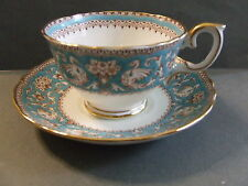 VINTAGE TEA CUP / SAUCER BLUE ELLESMERE BONE CHINA CROWN STAFFORDSHIRE