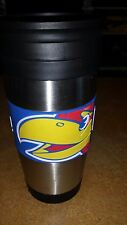 UNIVERSITY OF KANSAS KU JAYHAWKS INSULATED METAL TRAVEL MUG 15 OZ NEW