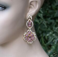 "3"" Long Lavender & Purple Crystals Floret Filigree Earrings, Pageant, Bridal"