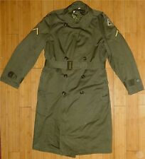 Vintage 1953 Military Uniform General Overcoat Trench Green Medium Lined Patches