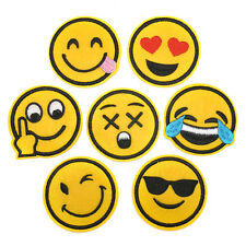 7pcs Emoji Cute Kawaii Expression Iron on Sew on Patches Embroidered Badge