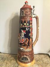 "Castle Beer Stein West German 20"" Tall Rare! 4 Liters! Knights Horses"