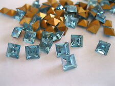 48 Swarovski Square Rhinestones in 6mm Aquamarine/foiled. #4400