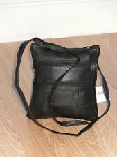 A Soft Leather Shoulder Neck Purse/Bag With 5 Zips Adjustable shoulder Strap.
