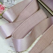 1y FRENCH SILK VELVET RIBBON MAUVE ROSE VIOLET MILLINERY FLOWER TRIM VTG ANTQ