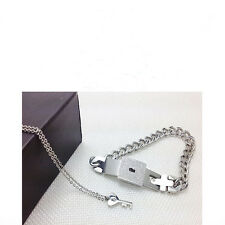 Couple Titanium Steel Bangle  Bracelet and Key Pendant Necklace Sets Love Gifts