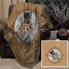 PERSONALISED NEUTRAL CAT PET BLANKET FLEECE DESIGN SOFT FLEECE COVER THROW