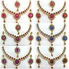 Bollywood Style Designer Gold Necklace Earring Set Bridal Wedding Indian Jewelry