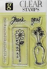 HAMPTON ART STUDIO G CLEAR CLING STAMPS - FLOWERS SENTIMENTS - THANKS THANK YOU!