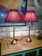 """A PAIR OF 19.5"""" HIGH LAURA ASHLEY BEDSIDE/TABLE LAMPS WITH 10"""" SILK SHADES"""
