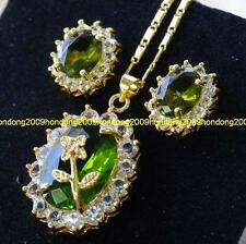 Gold filled Green Peridot & CZ Stone Necklace & Earring set