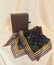 "New LOUIS VUITTON Black Multicolor 100% Silk Scarf Bandanna, 18"" Square, RARE!!"