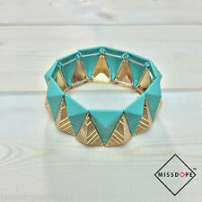 NEW Geometric Jade Gold Bracelet Bangle Womens Ladies Aztec Boho Triangle UK P&P
