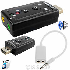 7.1 CH External USB Audio Sound Card 3D Adapter 3.5mm Headphone Y Splitter Cable