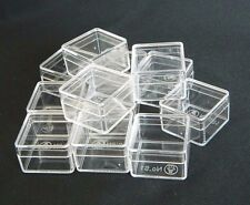 12 PCS SQUARE CLEAR PLASTIC MINI BOXES STORAGE CONTAINER ORGANIZER MULTI PURPOSE