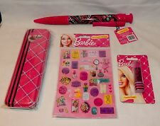 Barbie Lipstick Eraser Jumbo Pen 36 Stickers Tin Pencil Case Mix Lot 3+ Girls 4D