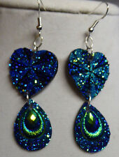 UNIQUE Teardrop HEART SHAPED PEACOCK COLORS EARRINGS BLING VALENTINES DAY Nora's