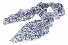 $145 Altea Blue Scarf Pure Wool Floral Pattern Made in Italy - One Size