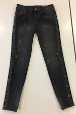 Ladies Zara Denim Rules Black Distressed Studded Jeans Size Uk 12