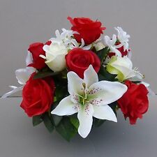 Artificial Flower Arrangement Red/ Ivory In Pot For Grave/Memorial Vase 07