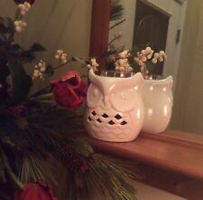 Yankee Candle White Ceramic Owl Jar Holder for Large, Med. & Tumbler Jar Candles