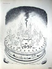 1957 ILLINGWORTH Punch Cartoon Print - 'New Year's Cake for 1957'.