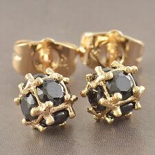Bright Ball 9K Yellow GF Black Swarovski Crystal Womens Stud Earrings F2928